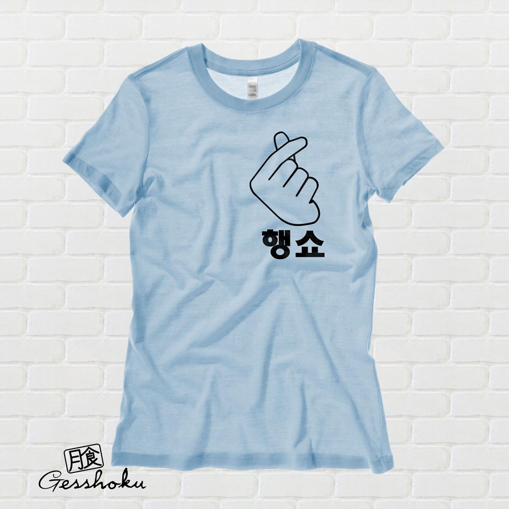 "Peace Out ""Haengsho"" Korean Ladies T-shirt - Light Blue"