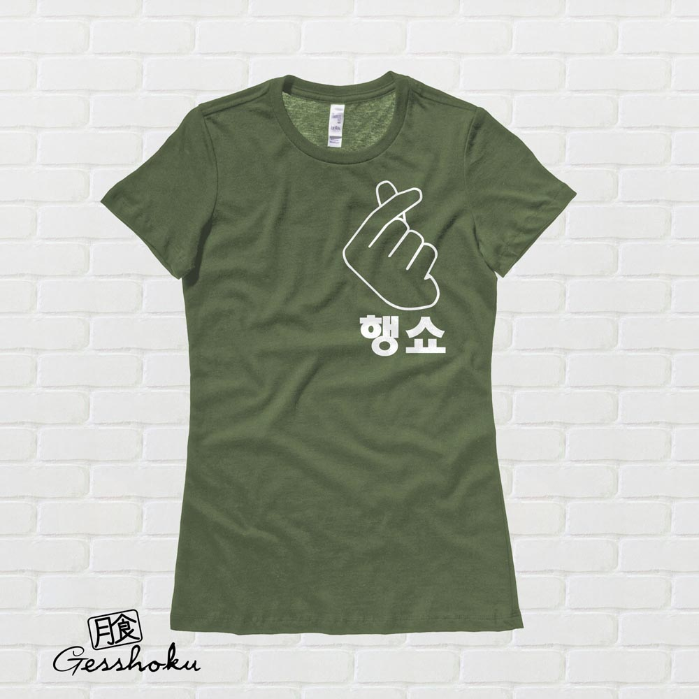 "Peace Out ""Haengsho"" Korean Ladies T-shirt - Olive Green"
