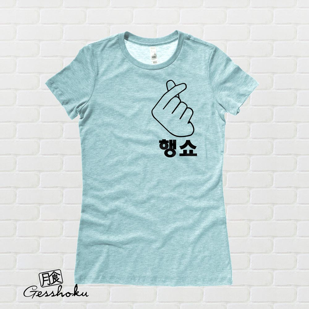 "Peace Out ""Haengsho"" Korean Ladies T-shirt - Seafoam"