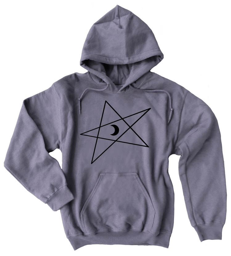 5-Pointed Moon Star Pullover Hoodie - Charcoal Grey