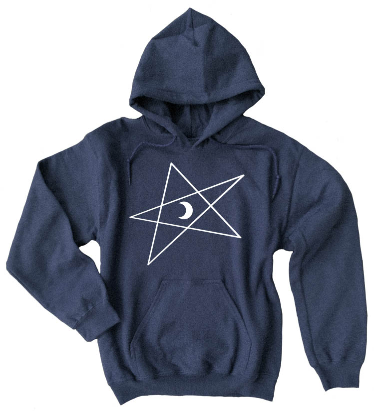 5-Pointed Moon Star Pullover Hoodie - Heather Navy