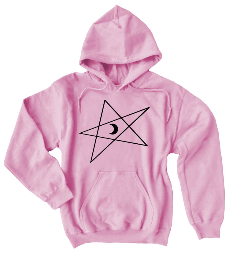 5-Pointed Moon Star Pullover Hoodie - Light Pink