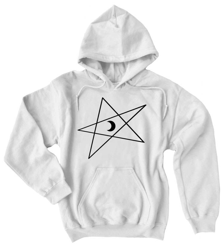 5-Pointed Moon Star Pullover Hoodie - White