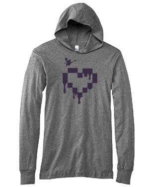 Pixel Drops Heart Hooded T-shirt