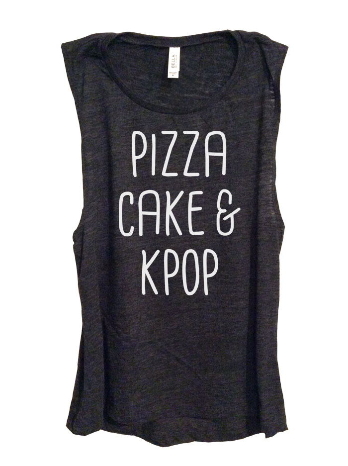 Pizza Cake & Kpop Sleeveless Top - Heather Black