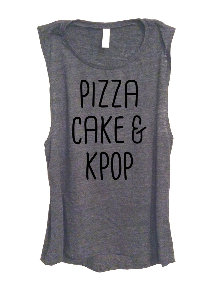 Pizza Cake & Kpop Sleeveless Top - Deep Heather Grey