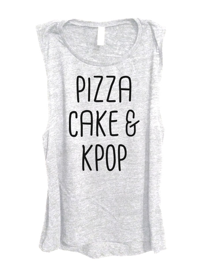 Pizza Cake & Kpop Sleeveless Top - Heather White