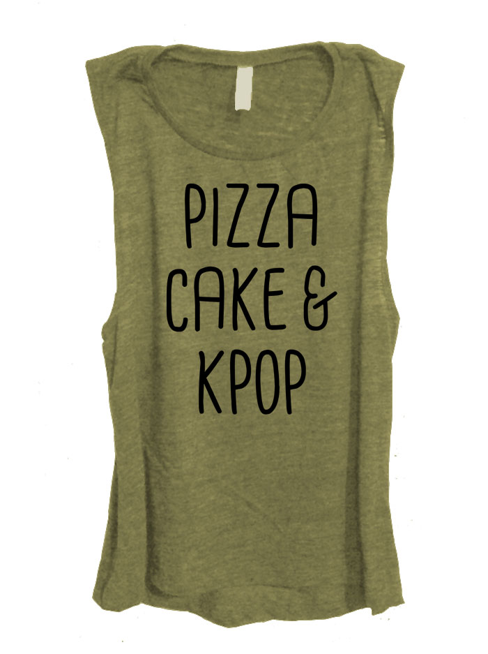 Pizza Cake & Kpop Sleeveless Top - Olive Green