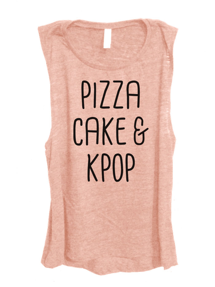 Pizza Cake & Kpop Sleeveless Top - Rose Gold