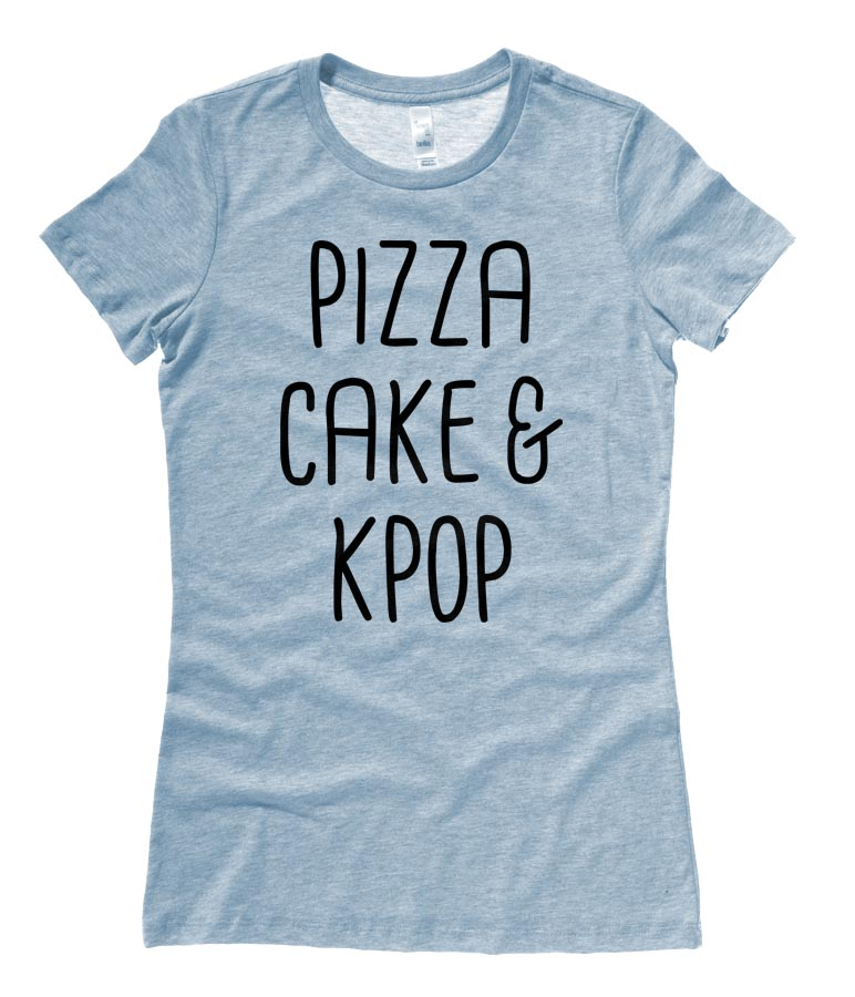 Pizza Cake & KPOP Ladies T-shirt - Heather Blue