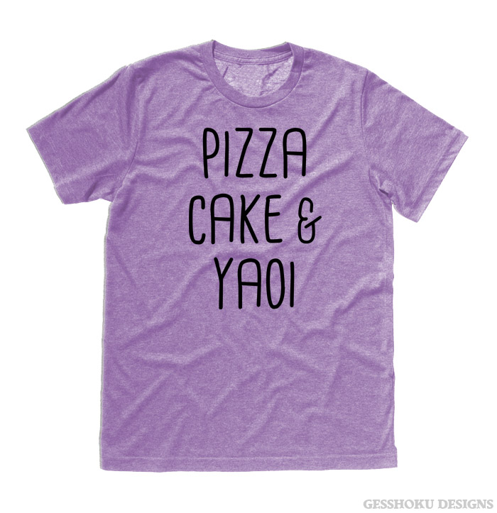 Pizza Cake & YAOI T-shirt - Heather Purple