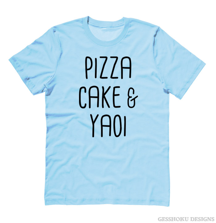 Pizza Cake & YAOI T-shirt - Light Blue