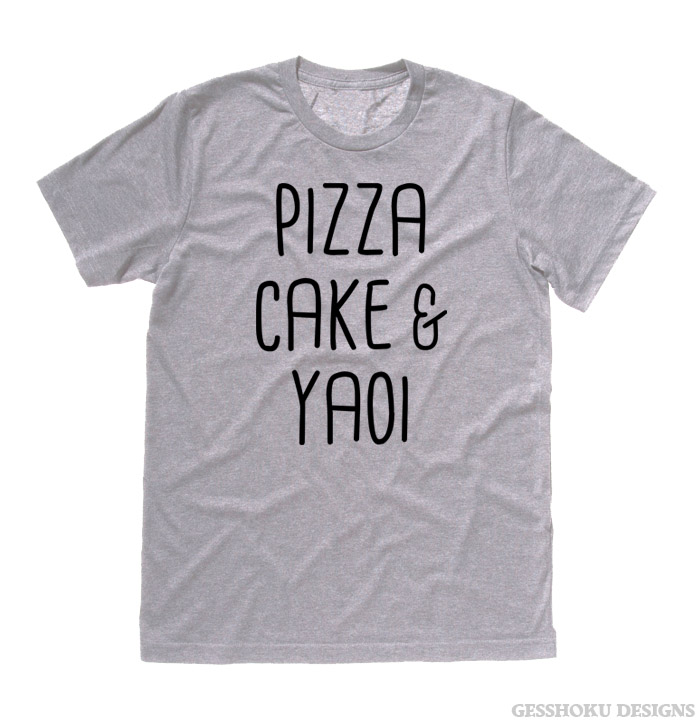 Pizza Cake & YAOI T-shirt - Light Grey
