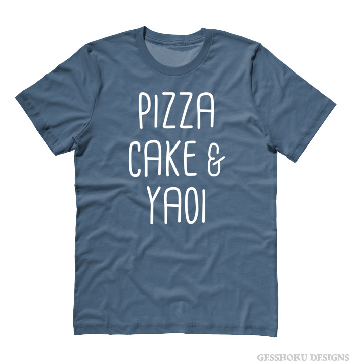 Pizza Cake & YAOI T-shirt - Stone Blue