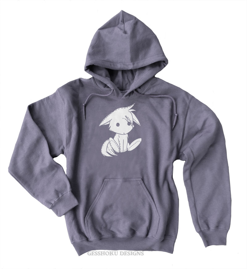 Plush Kitsune Pullover Hoodie - Charcoal Grey