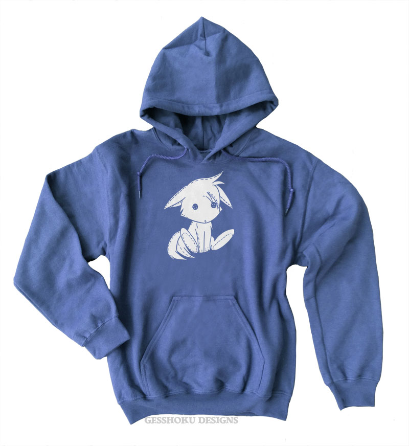 Plush Kitsune Pullover Hoodie - Heather Blue