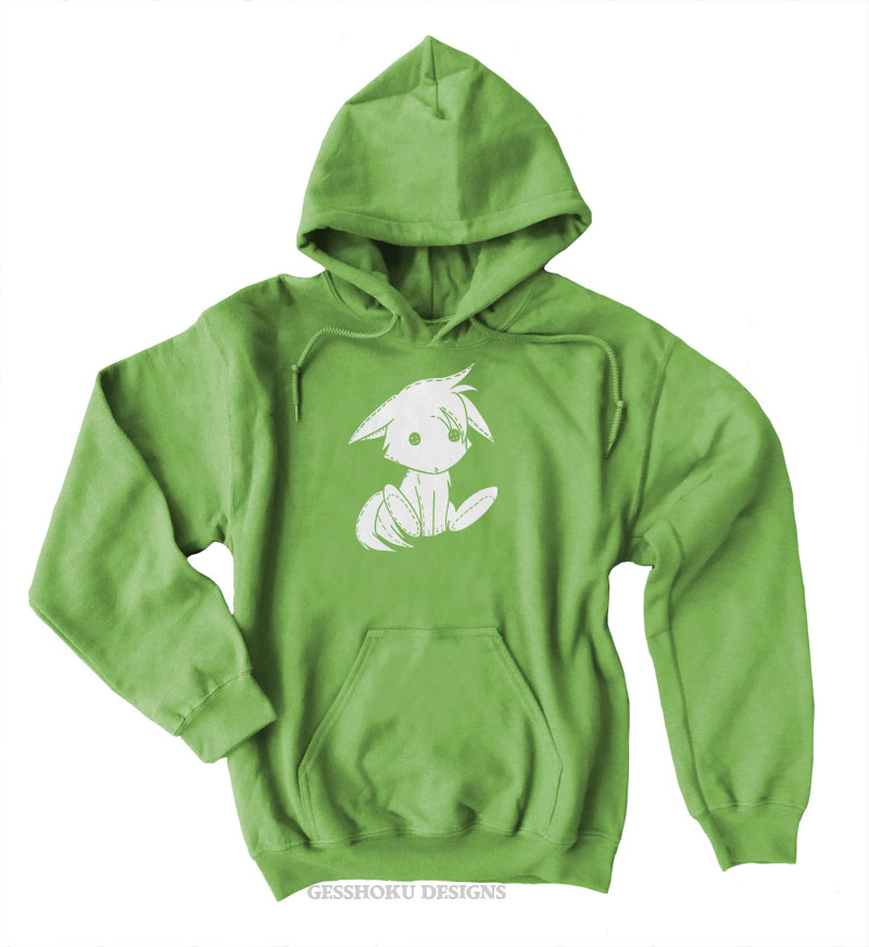 Plush Kitsune Pullover Hoodie - Lime Green