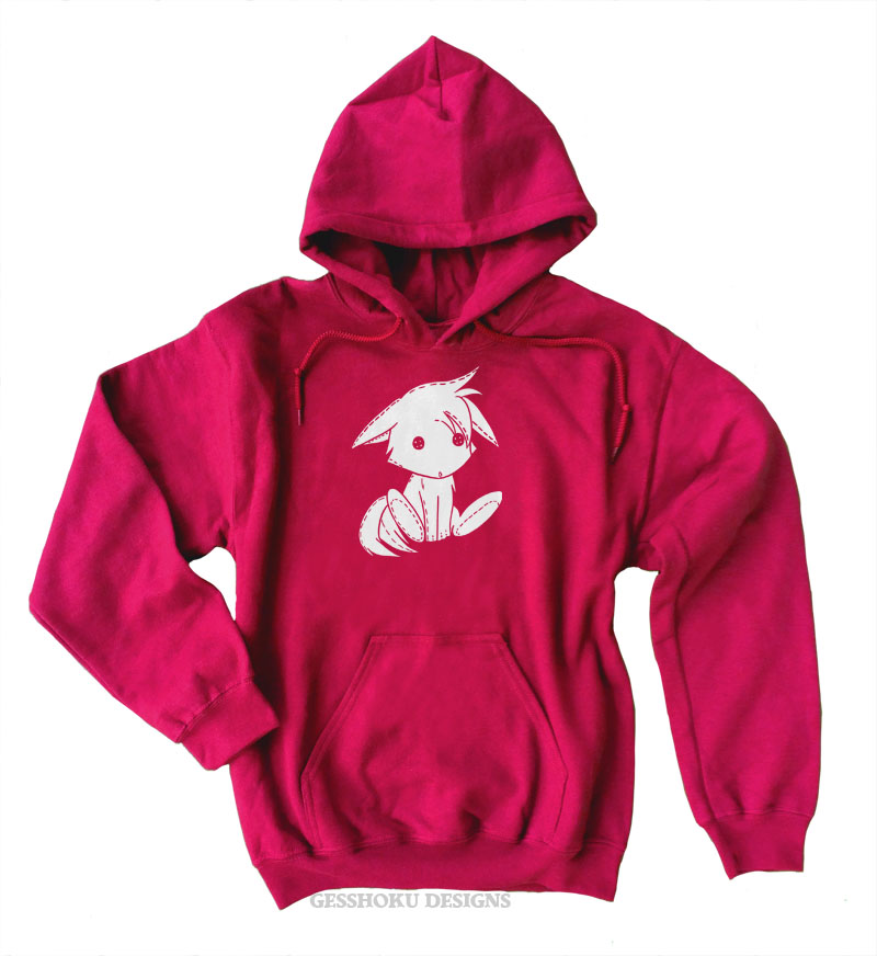 Plush Kitsune Pullover Hoodie - Red