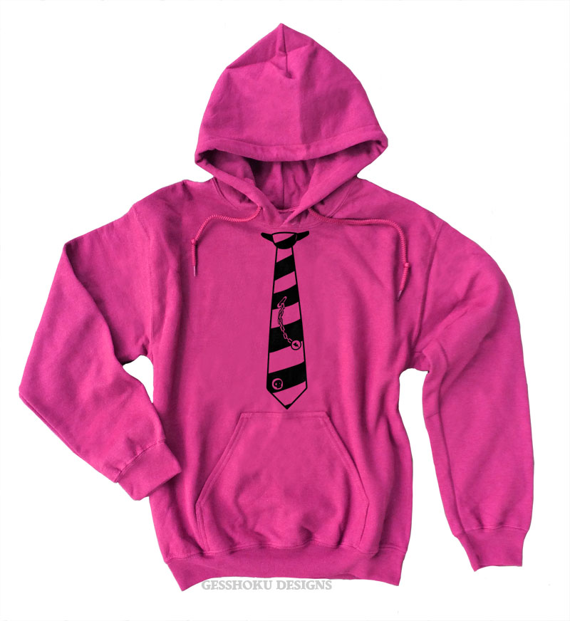 Fabulously Punk Striped Tie Pullover Hoodie - Hot Pink