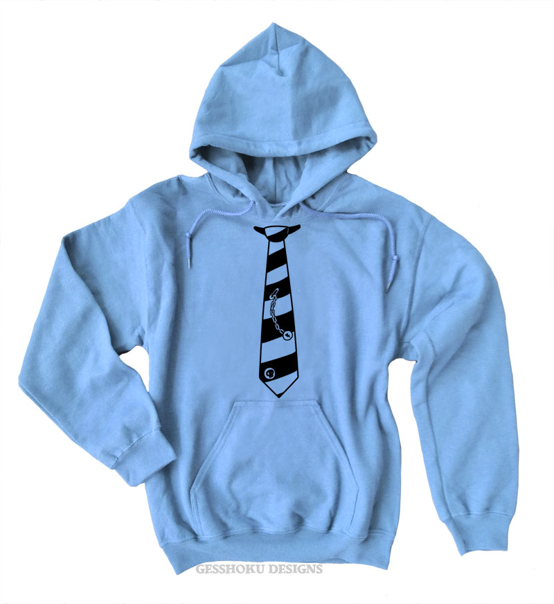 Fabulously Punk Striped Tie Pullover Hoodie - Light Blue