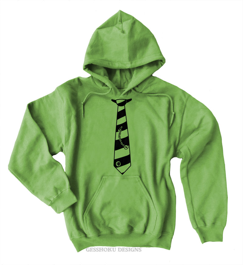 Fabulously Punk Striped Tie Pullover Hoodie - Lime Green