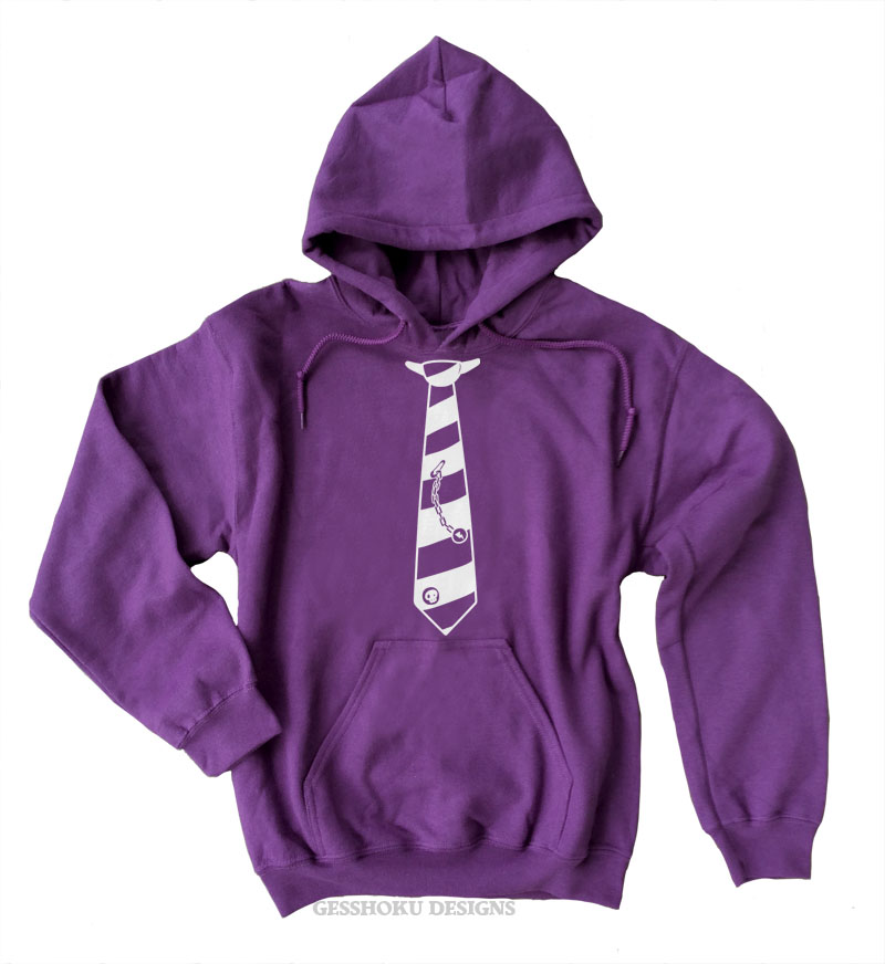 Fabulously Punk Striped Tie Pullover Hoodie - Purple