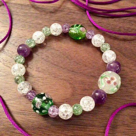 Flower Lampwork Glass Beaded Bracelet -