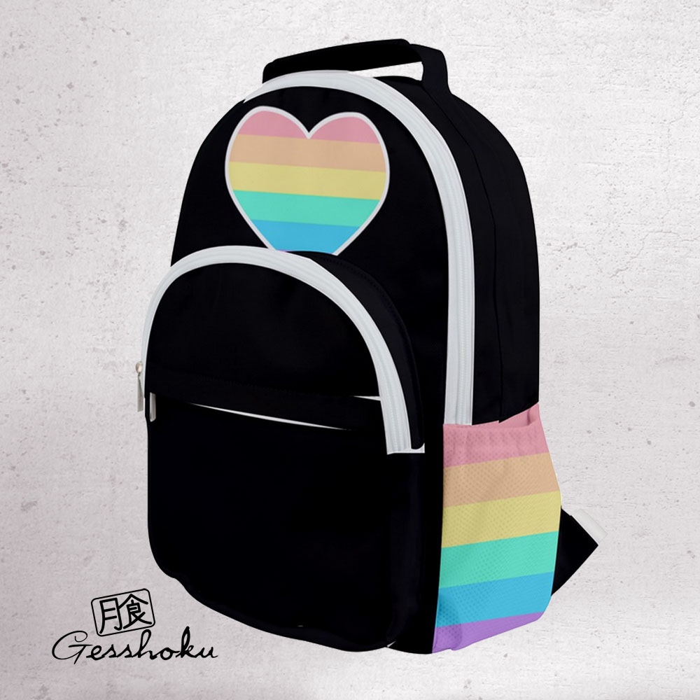 Rainbow Heart Black and White Backpack - Black