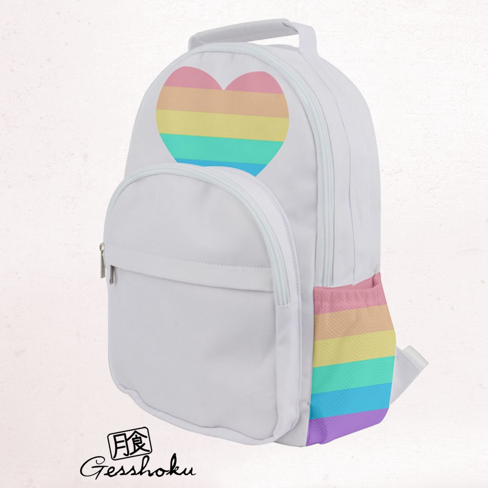 Rainbow Heart Black and White Backpack - White