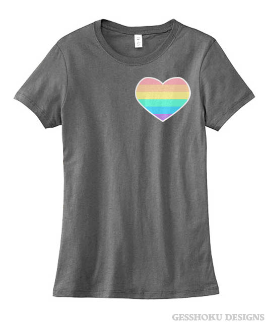 Pastel Rainbow Heart Ladies T-shirt - Deep Heather Grey
