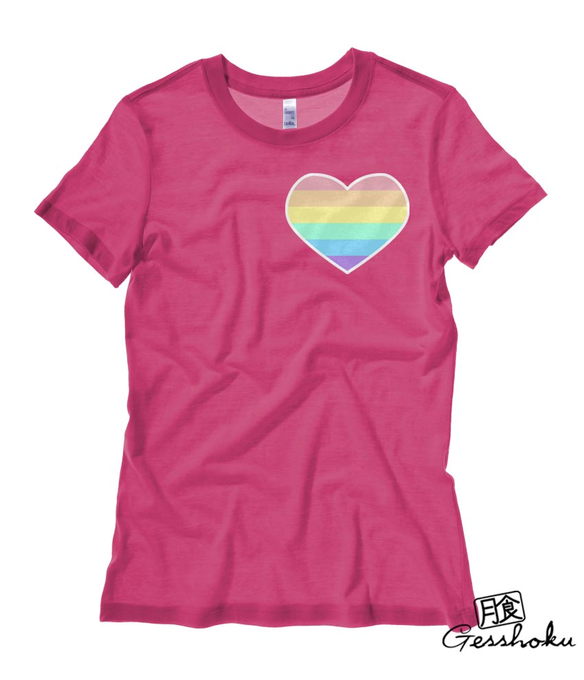 Pastel Rainbow Heart Ladies T-shirt - Hot Pink