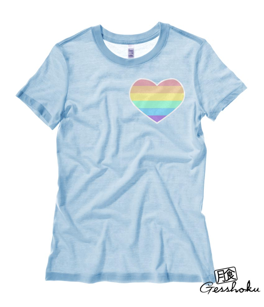 Pastel Rainbow Heart Ladies T-shirt - Light Blue
