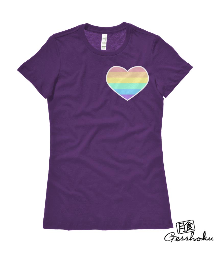 Pastel Rainbow Heart Ladies T-shirt - Purple