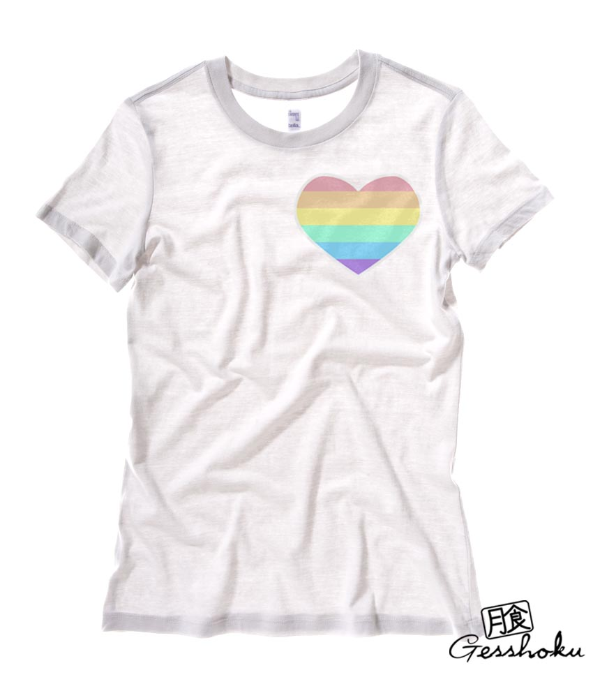 Pastel Rainbow Heart Ladies T-shirt - White