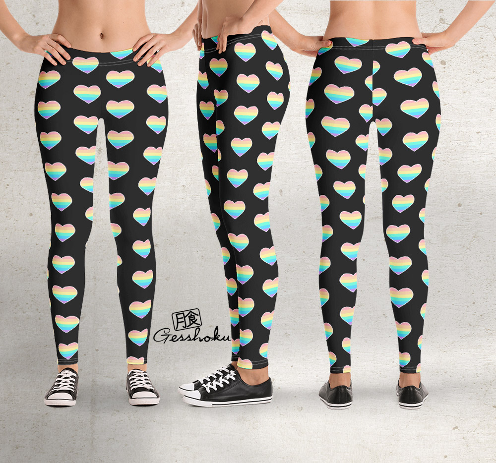 Pastel Rainbow Heart Leggings - Black