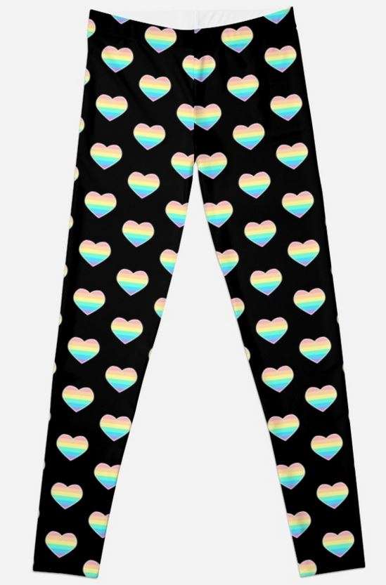 Pastel Rainbow Heart Leggings -