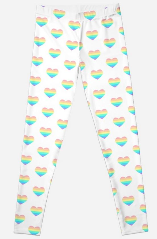 Pastel Rainbow Heart Leggings - White