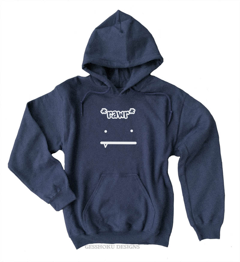 Rawr Face Pullover Hoodie - Heather Navy