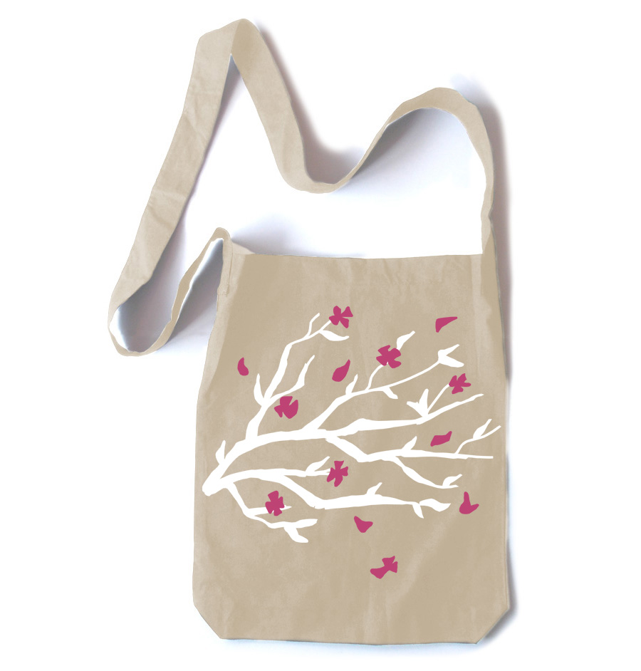 Sakura Blossoms Crossbody Tote Bag - Natural
