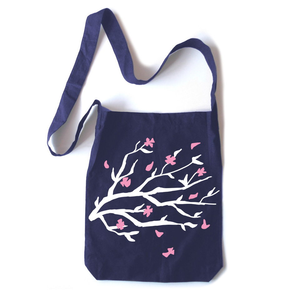 Sakura Blossoms Crossbody Tote Bag - Navy Blue