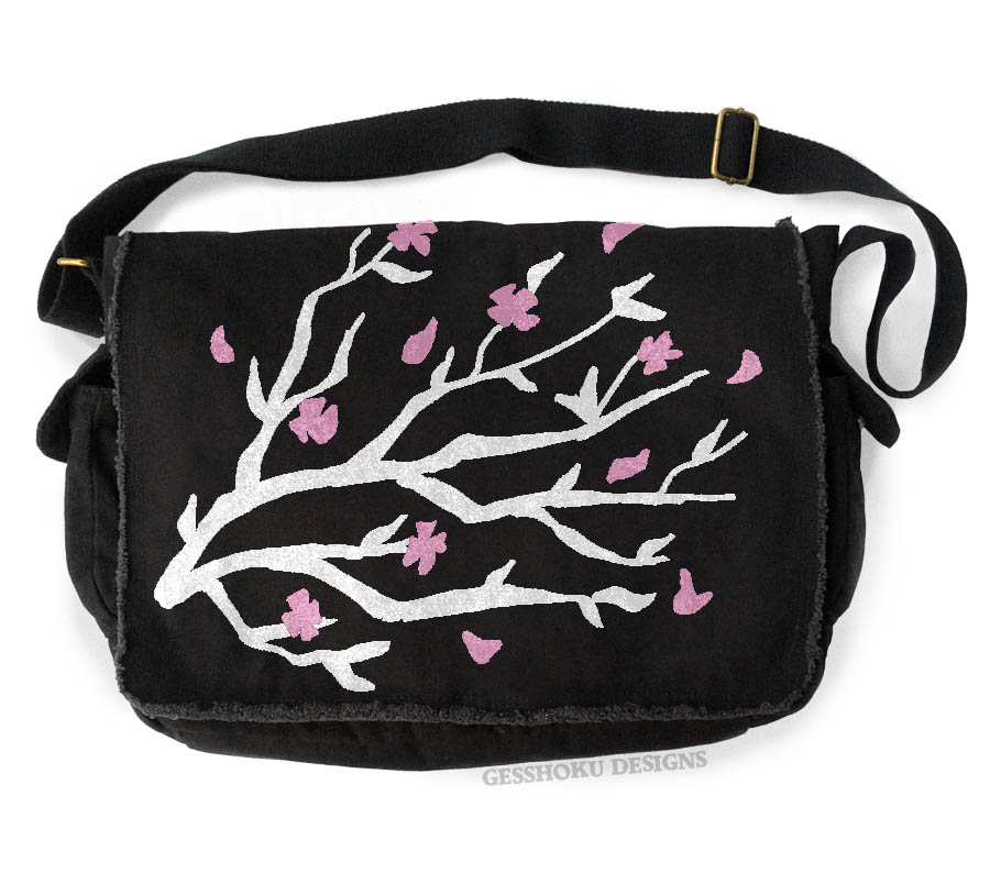 Sakura Cherry Blossoms Messenger Bag - Black
