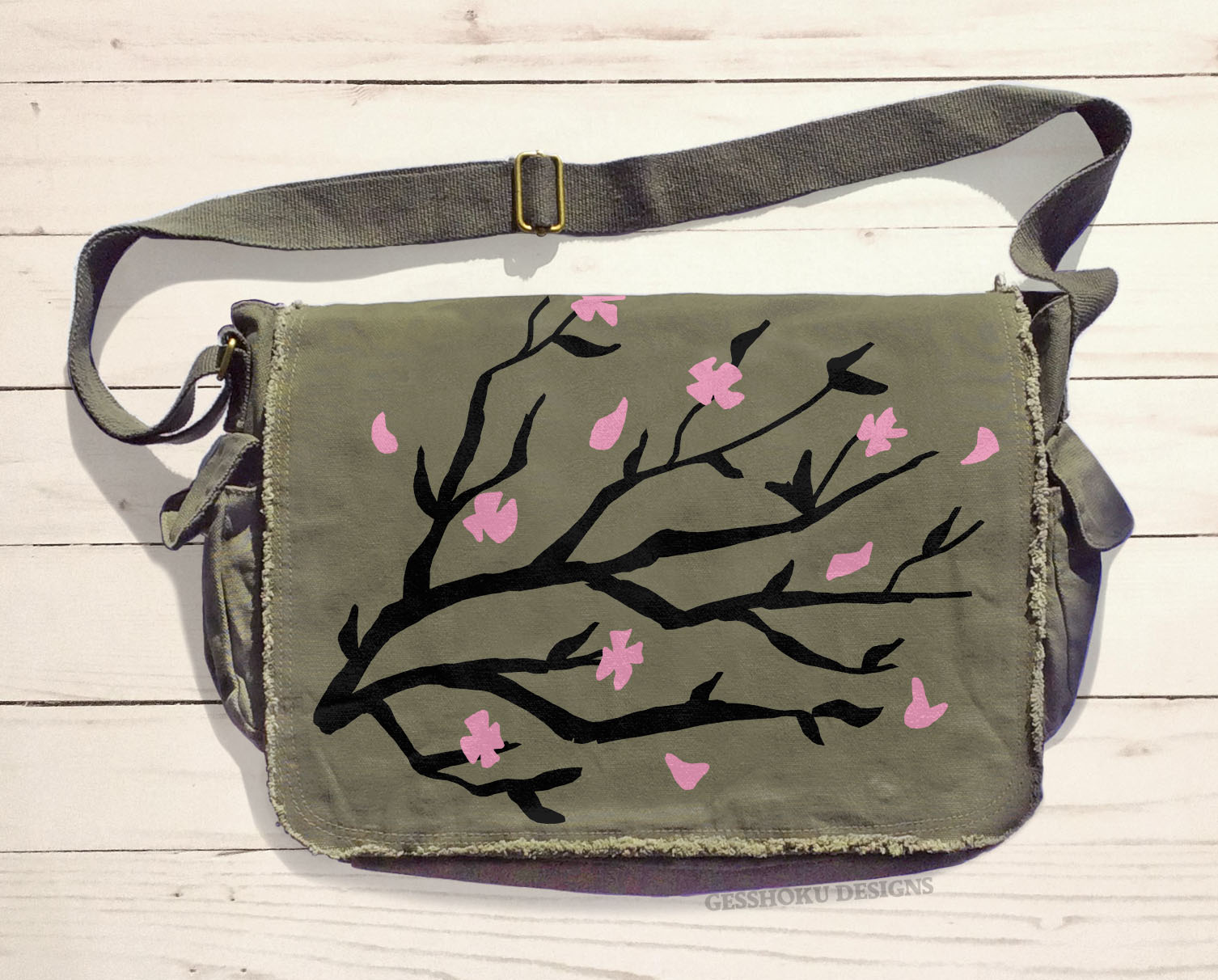 Sakura Cherry Blossoms Messenger Bag - Khaki Green