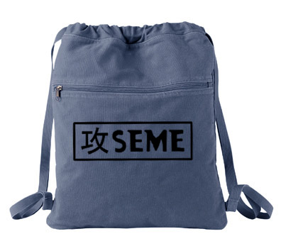 Seme Badge Cinch Backpack - Denim Blue
