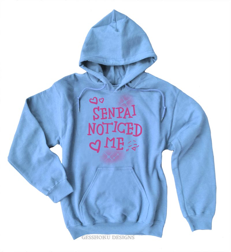 Senpai Noticed Me Pullover Hoodie - Light Blue