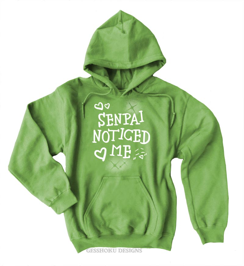Senpai Noticed Me Pullover Hoodie - Lime Green