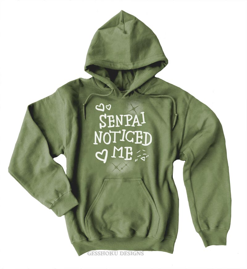 Senpai Noticed Me Pullover Hoodie - Olive Green