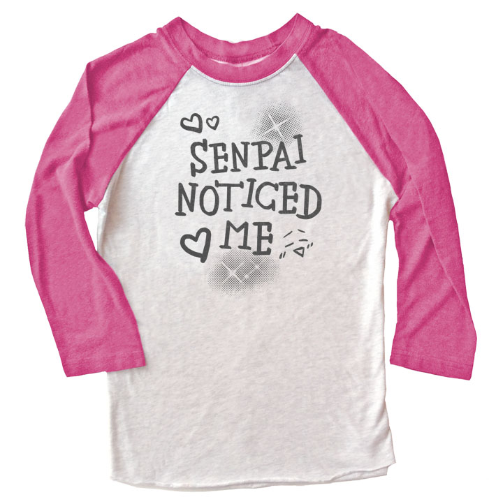 Senpai Noticed Me Raglan T-shirt 3/4 Sleeve - Pink/White