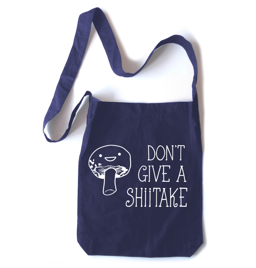 Don't Give a Shiitake Crossbody Tote Bag - Navy Blue