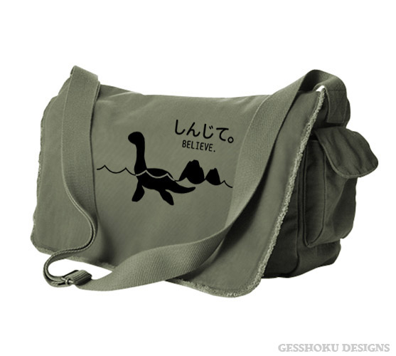 Believe - Monsters in the Water Messenger Bag - Khaki Green