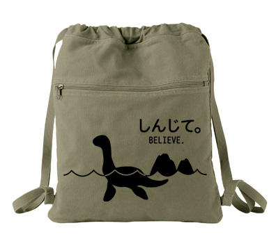 Believe - Monsters in the Water Cinch Backpack - Khaki Green